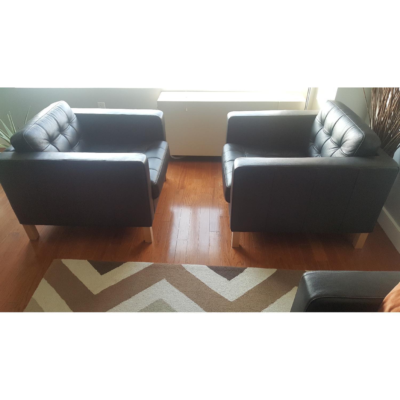 Ikea Karlstad Leather Armchairs - image-1