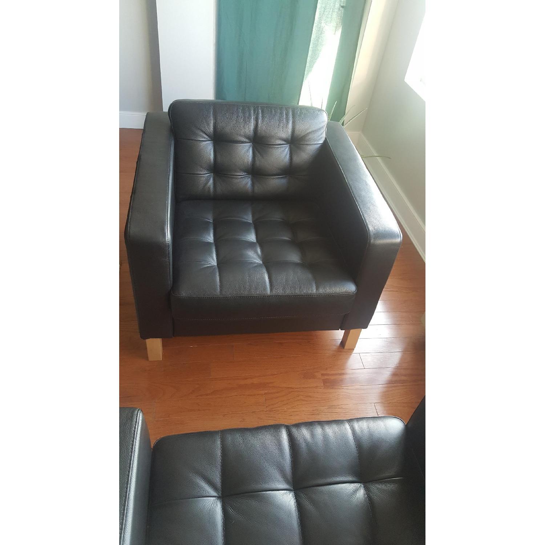 Ikea Karlstad Leather Armchairs - image-3