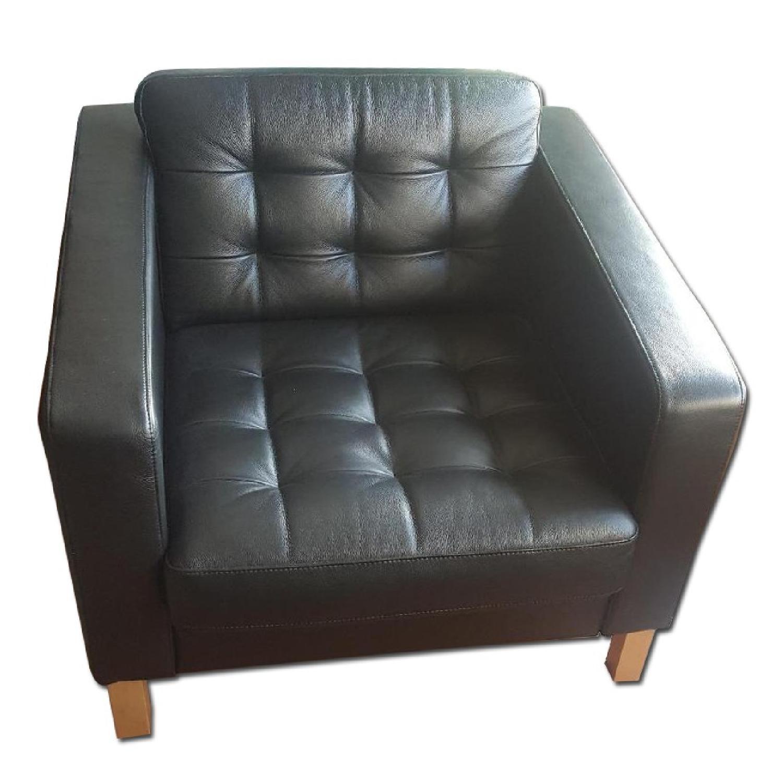 Ikea Karlstad Leather Armchairs - image-0