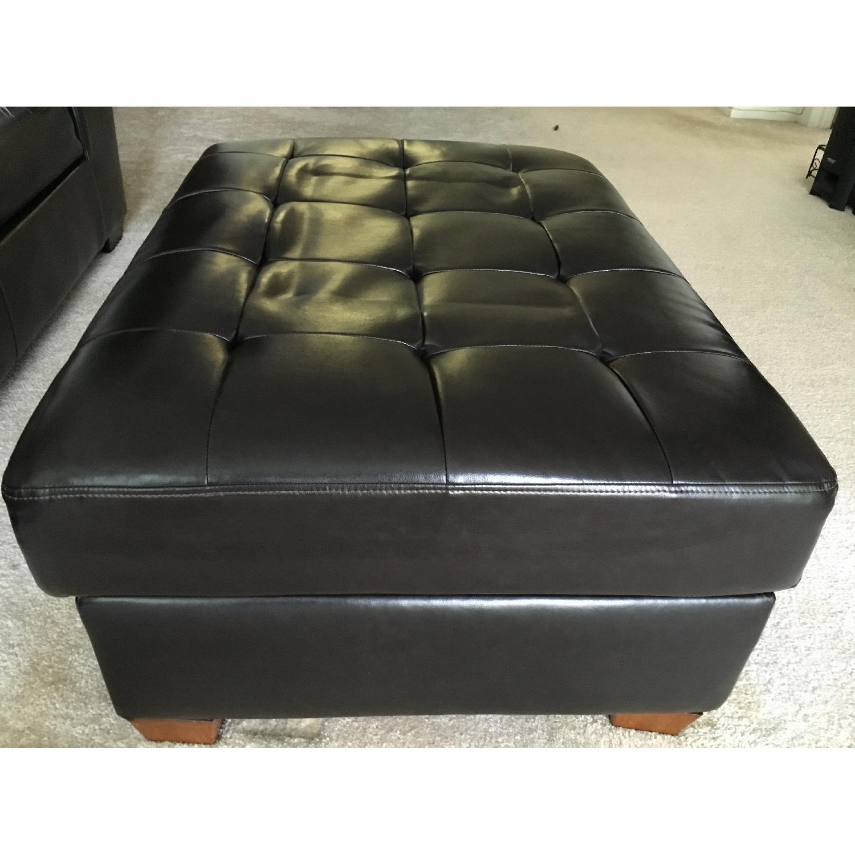 Ashley's Leather Ottoman w/ Storage - image-3