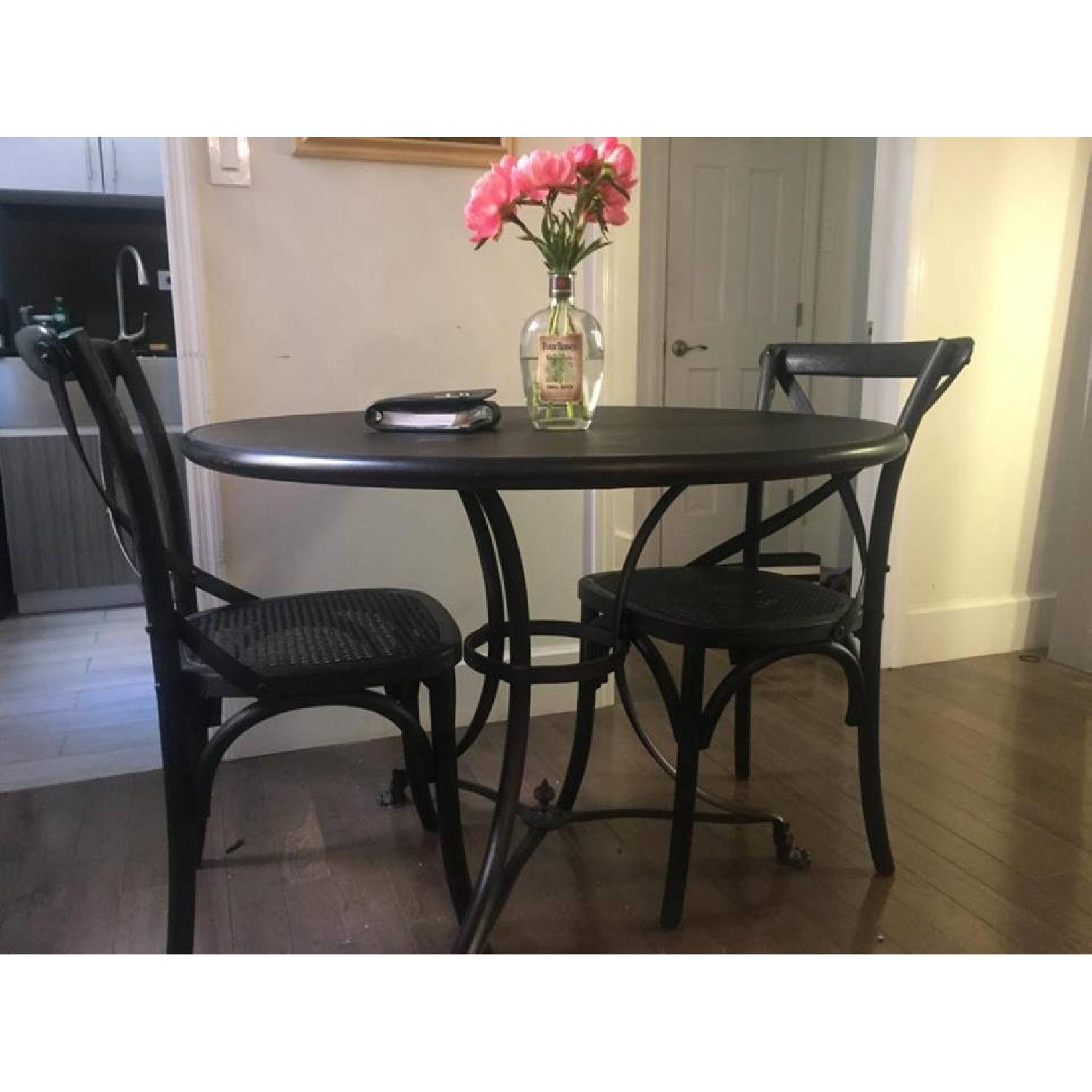 Restoration Hardware 19th C. French Lion's Foot Brasserie Table w/ 2 Chairs - image-1