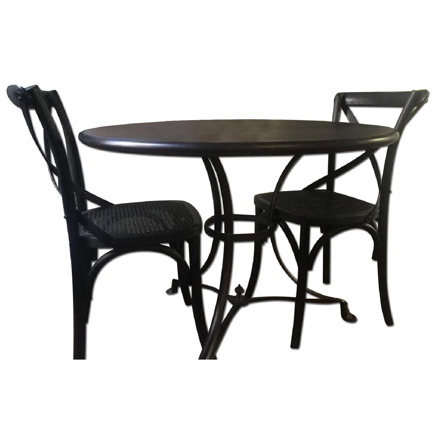 Restoration Hardware 19th C. French Lion's Foot Brasserie Table w/ 2 Chairs - image-0