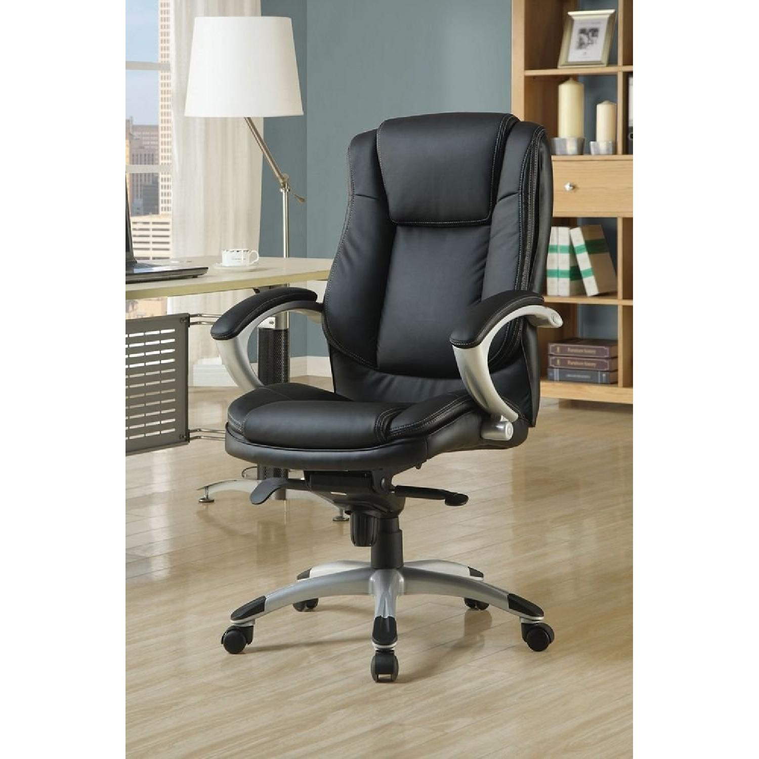 Monarch Specialties Faux Leather Office Chair in Black - image-1