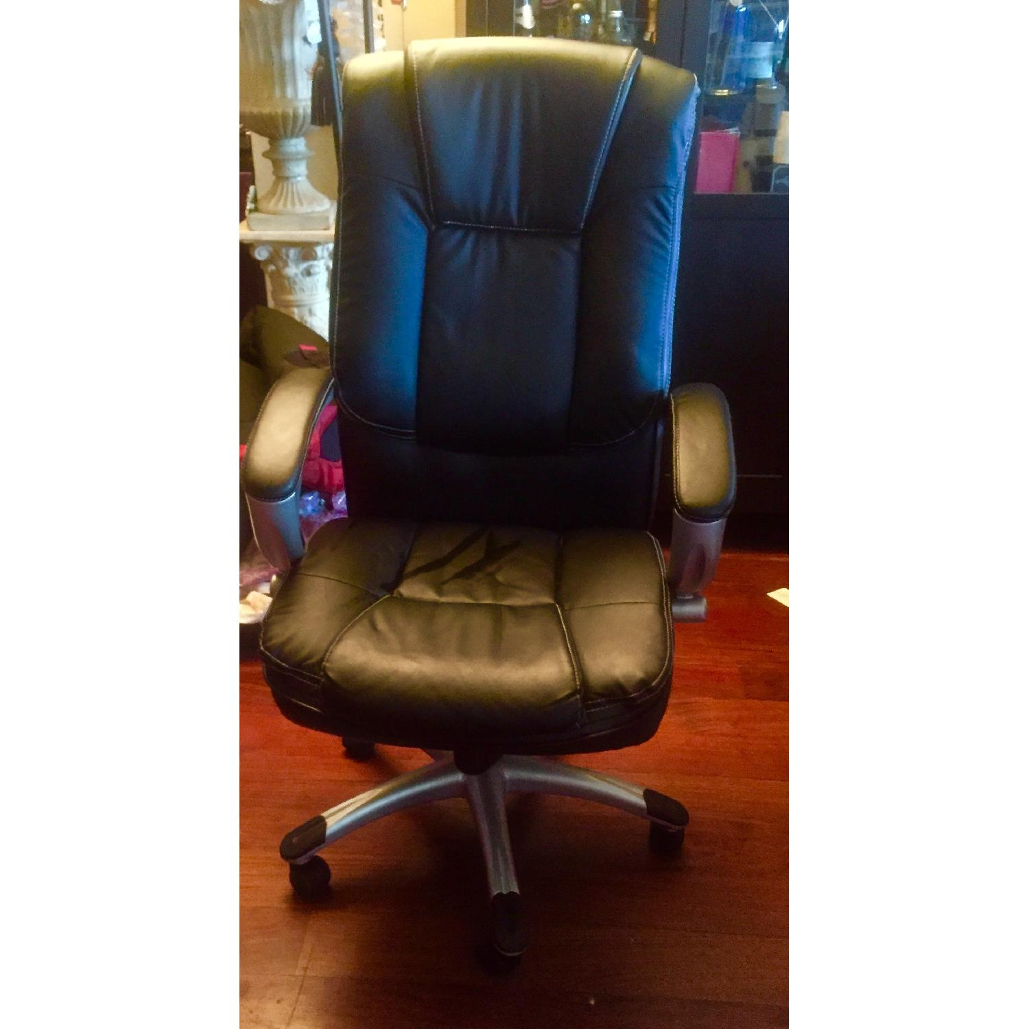 Monarch Specialties Faux Leather Office Chair in Black - image-2