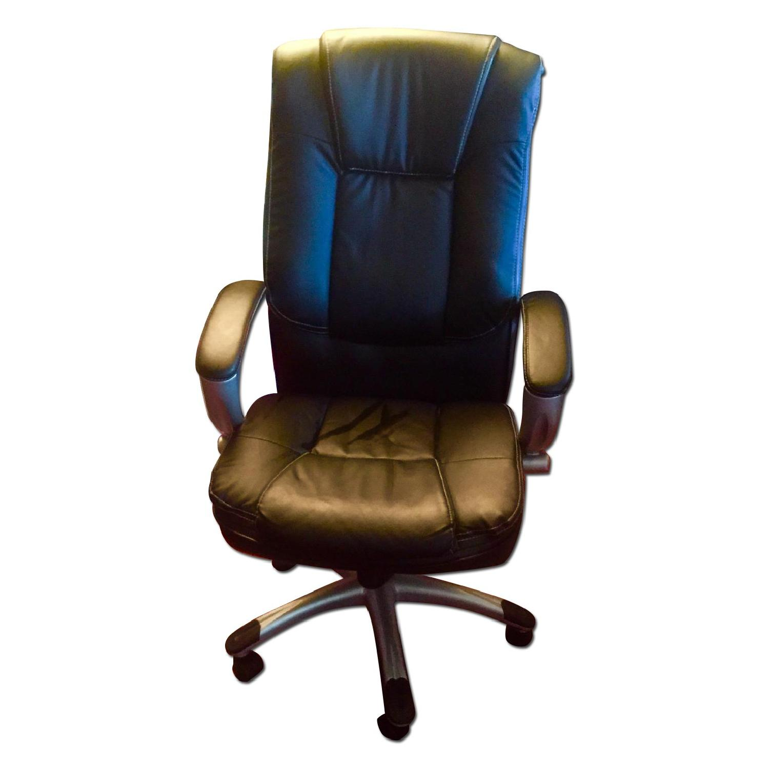 Monarch Specialties Faux Leather Office Chair in Black - image-0