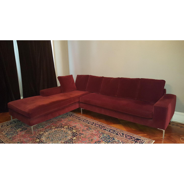 ABC Carpet & Home Maroon Sectional Sofa - image-2