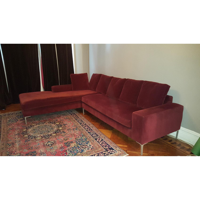 ABC Carpet & Home Maroon Sectional Sofa - image-3