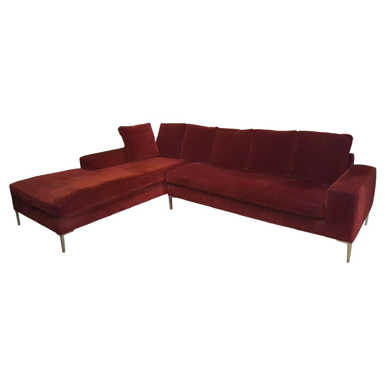 ABC Carpet & Home Maroon Sectional Sofa - image-0