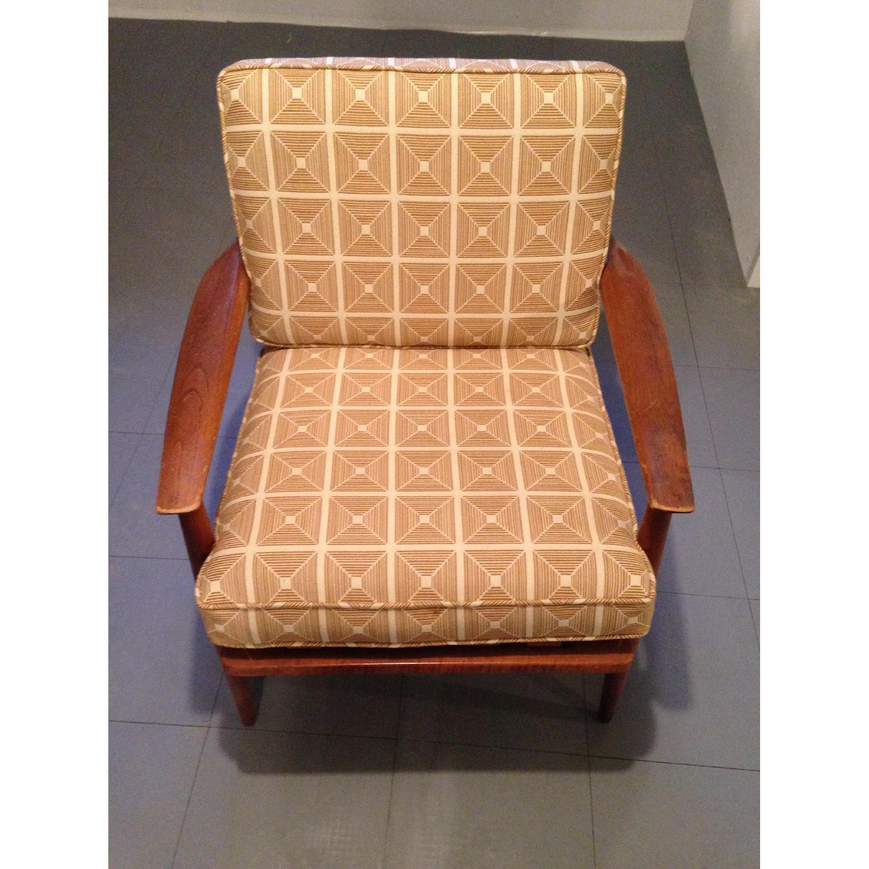 Danish Modern Chairs w/ Dwell Studio Upholstery - image-3