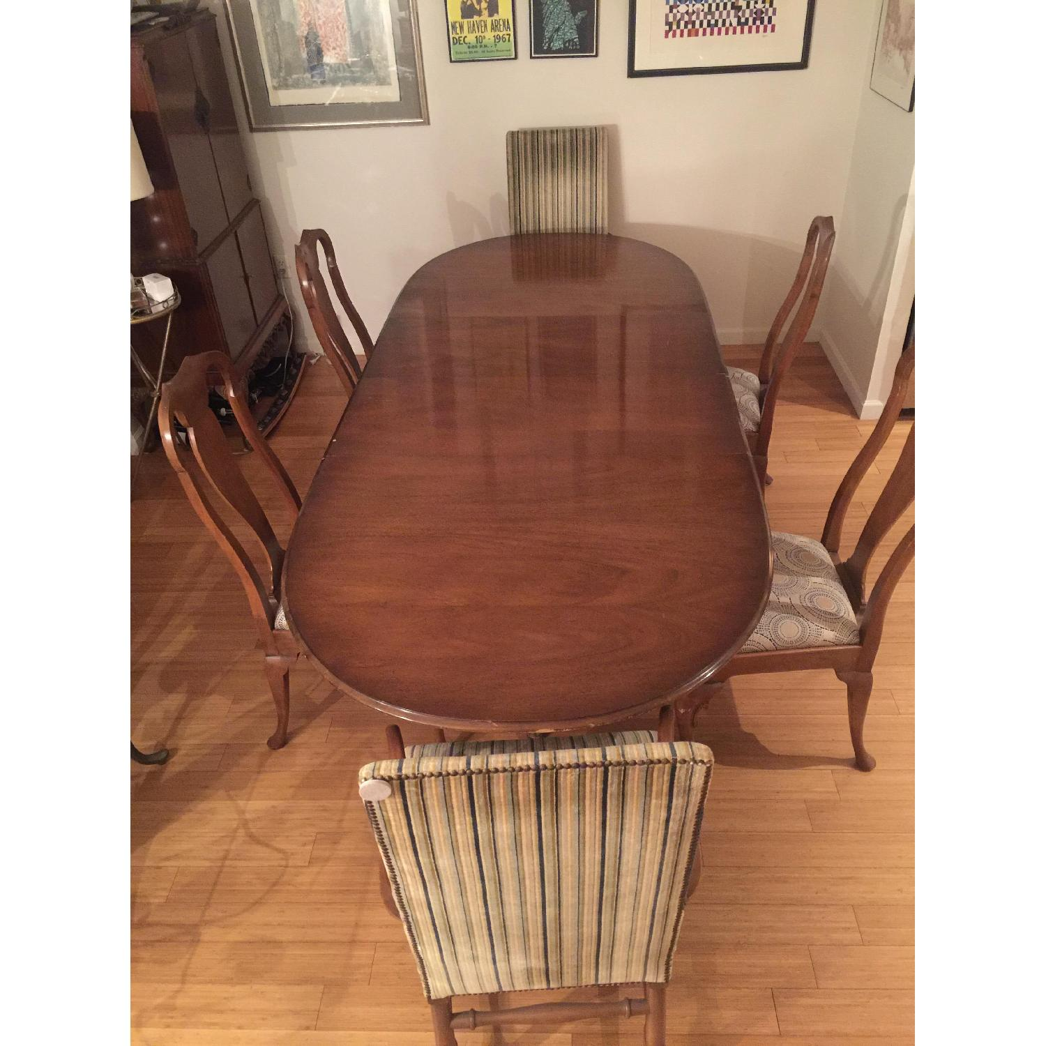 Antique Expandable Walnut Dining Room Table Set - image-1