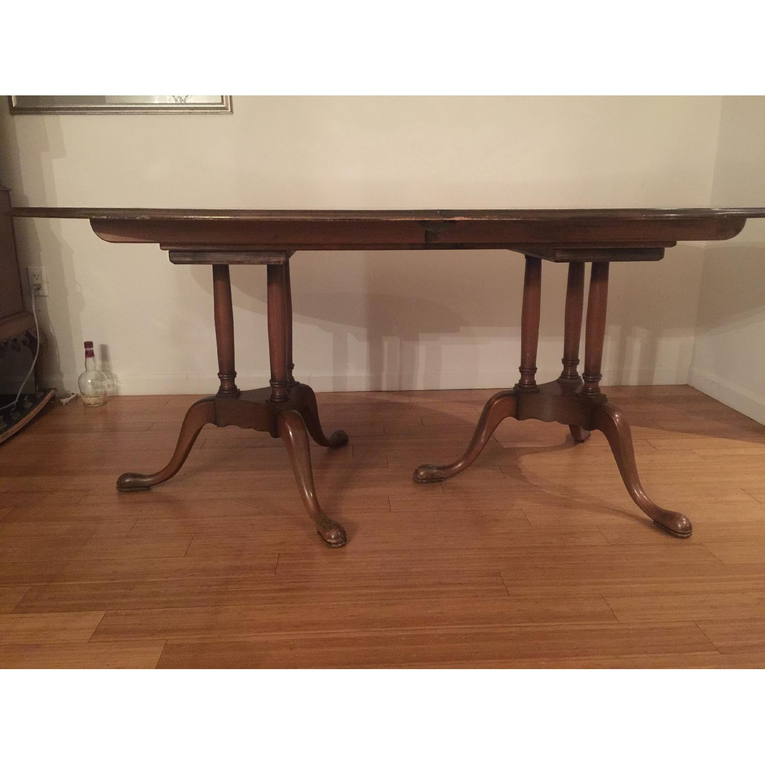 Antique Expandable Walnut Dining Room Table Set - image-2