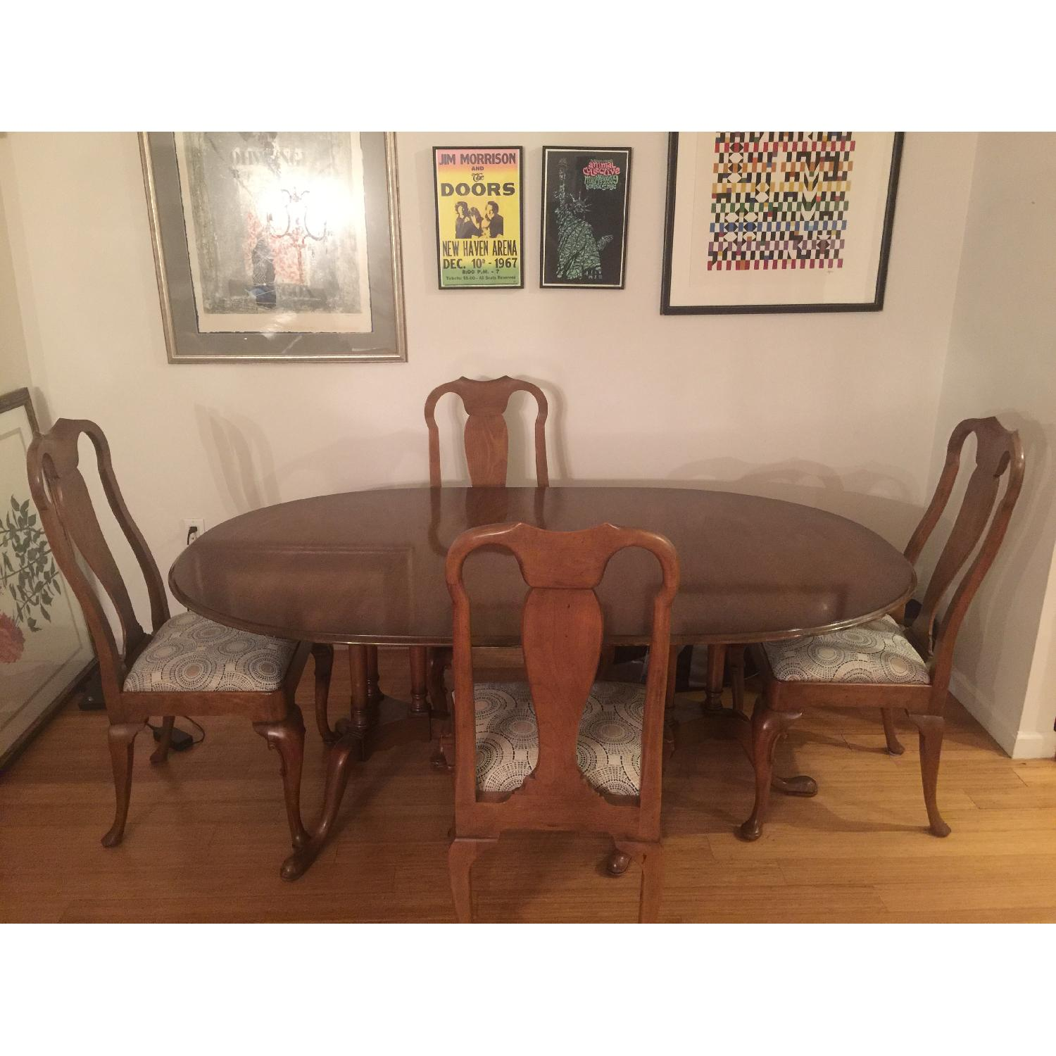 Antique Expandable Walnut Dining Room Table Set - image-8