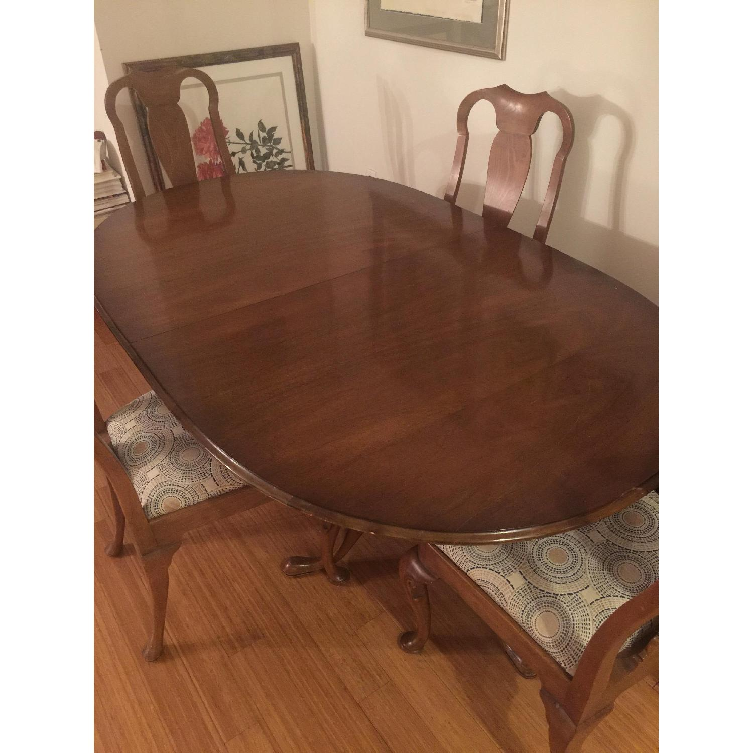 Antique Expandable Walnut Dining Room Table Set - image-9
