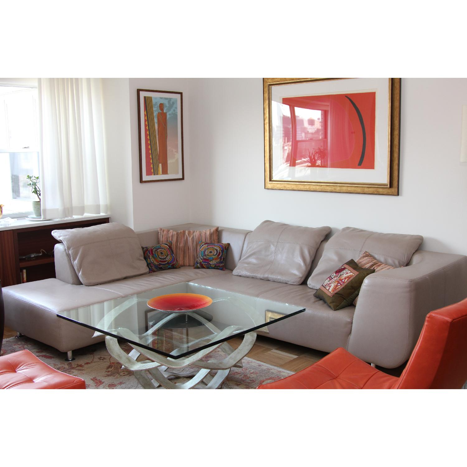 Maurice Villency Leather Sectional - image-1