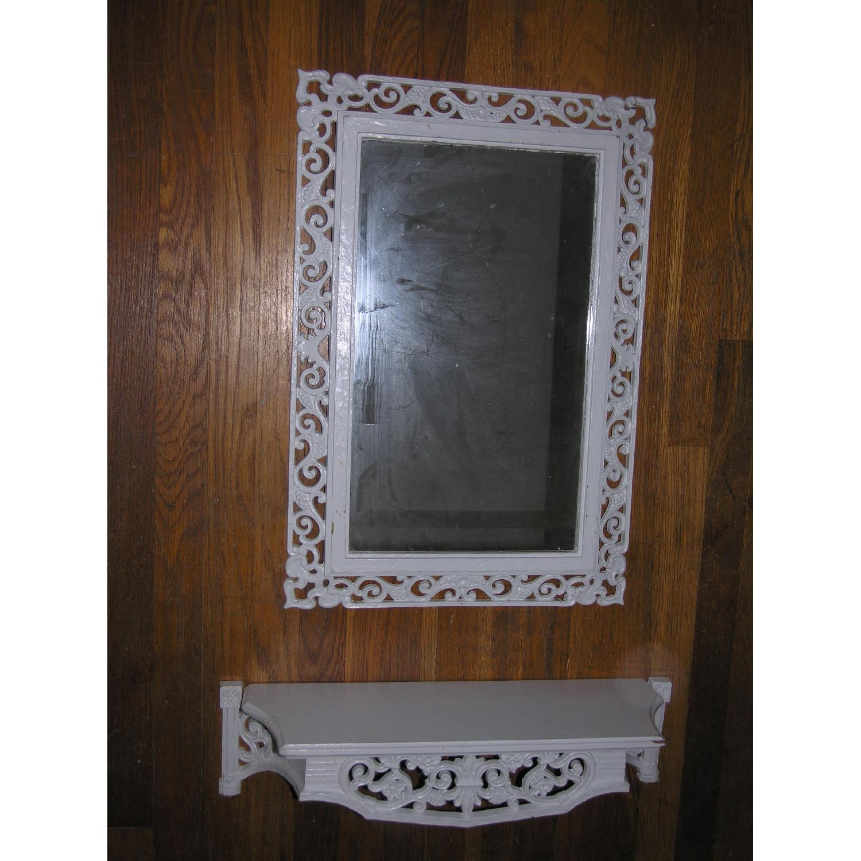 Shabby Chic Rococo Style Mirror w/ Matching Shelf - image-13