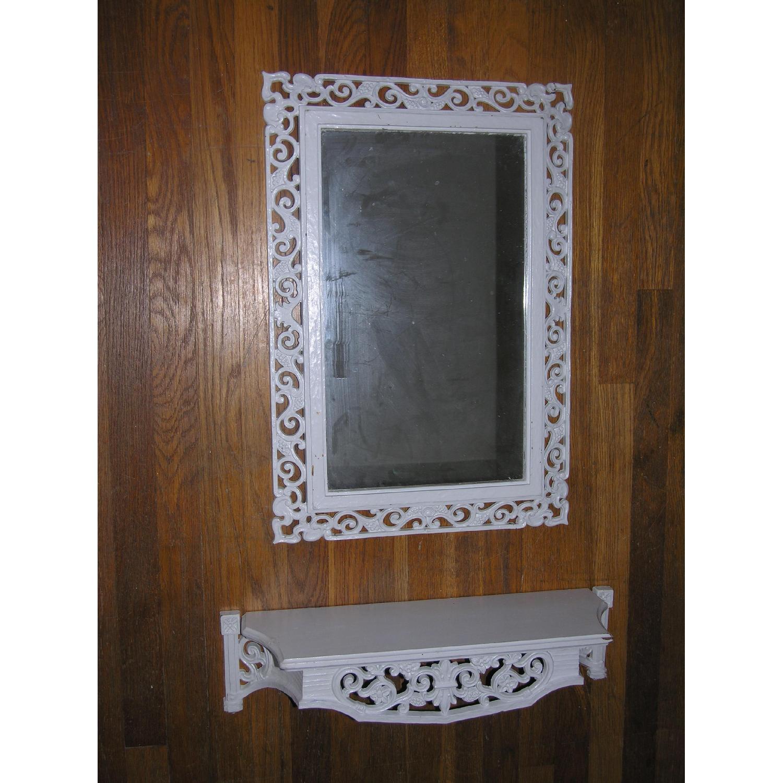 Shabby Chic Rococo Style Mirror w/ Matching Shelf - image-15