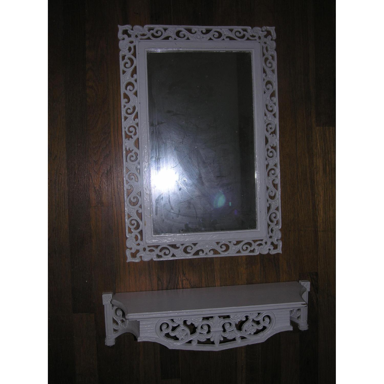 Shabby Chic Rococo Style Mirror w/ Matching Shelf - image-19