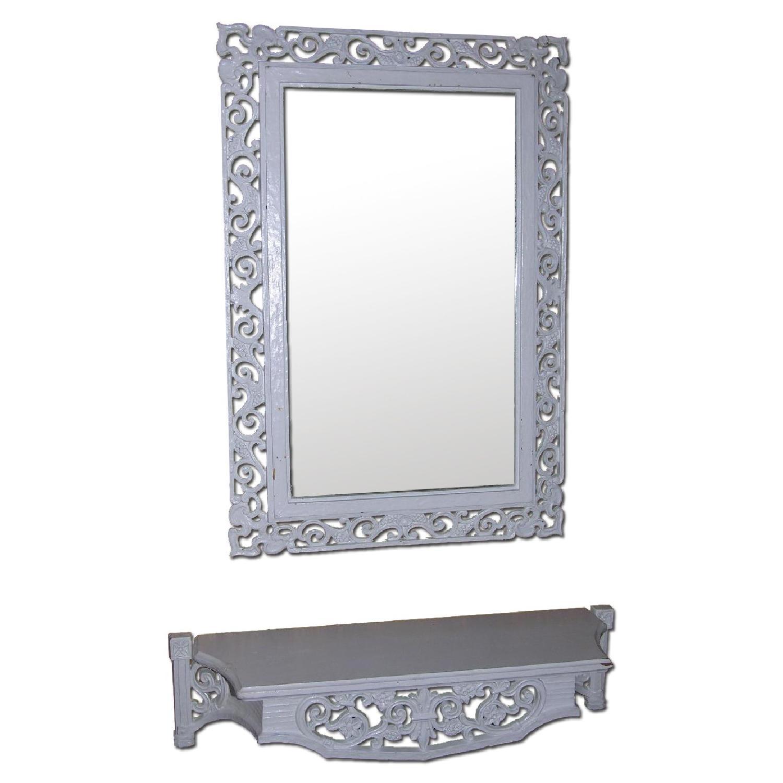 Shabby Chic Rococo Style Mirror w/ Matching Shelf - image-0