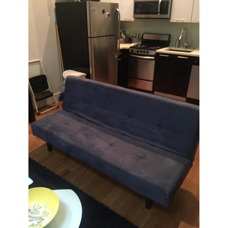 Ikea Blue Microsuede Futon - image-1