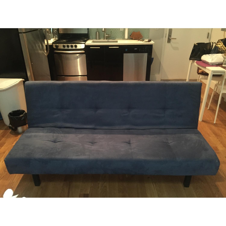 Ikea Blue Microsuede Futon - image-2