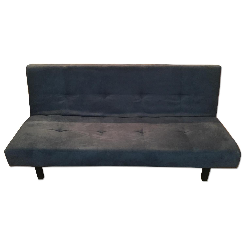 Ikea Blue Microsuede Futon - image-0