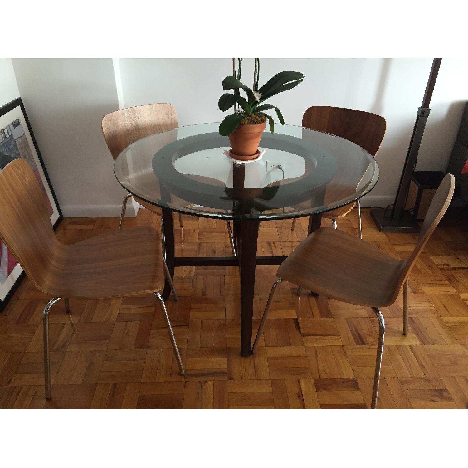 Crate & Barrel Halo Ebony Round Dining Table w/ Glass Top - image-1