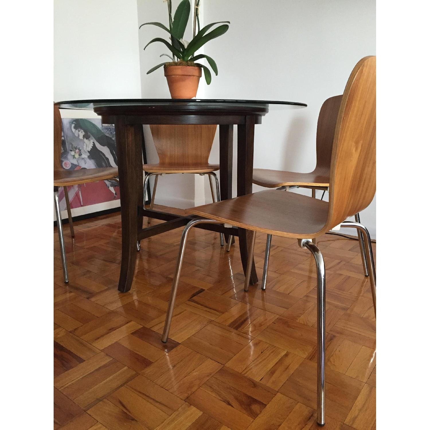 Crate & Barrel Halo Ebony Round Dining Table w/ Glass Top - image-2