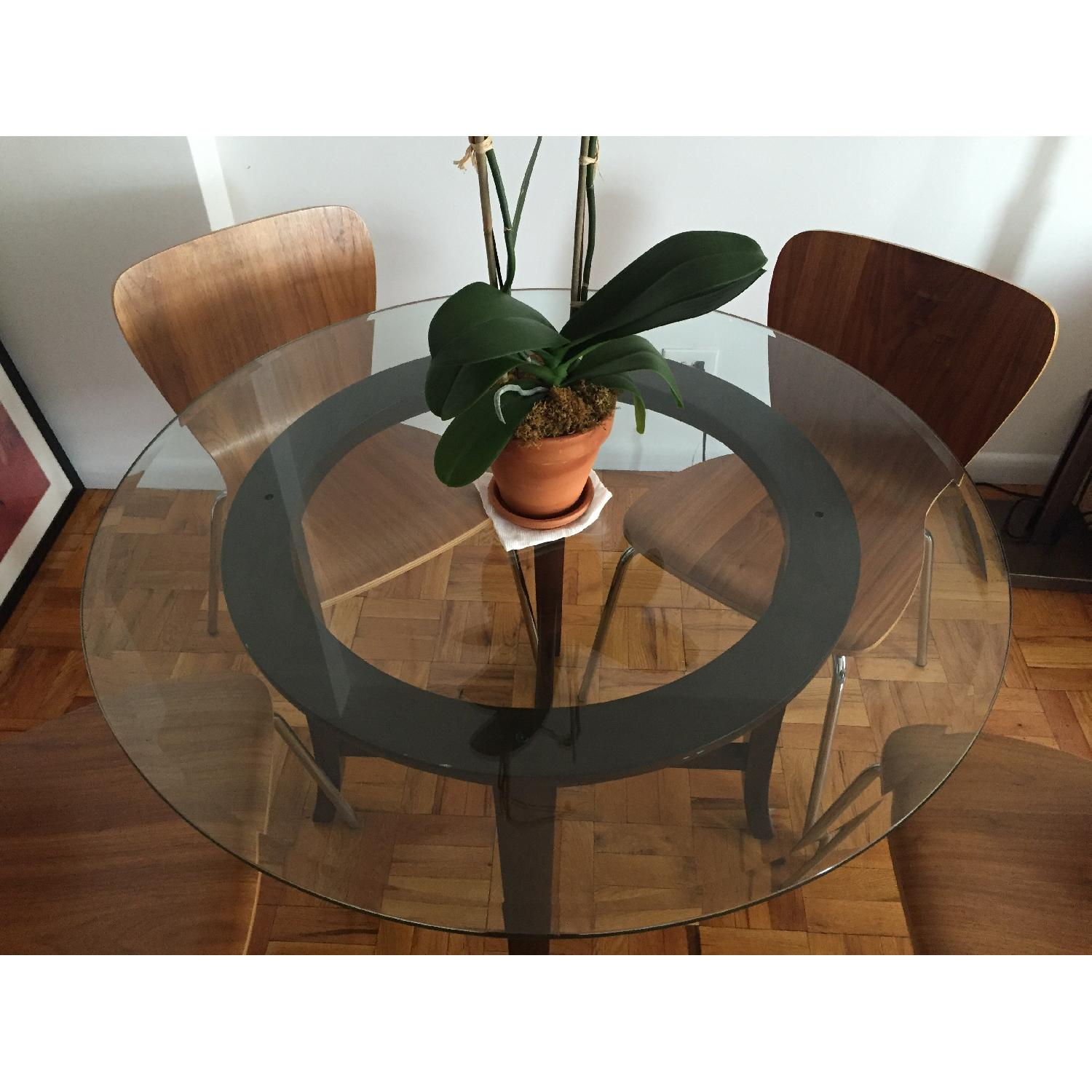Crate & Barrel Halo Ebony Round Dining Table w/ Glass Top - image-3