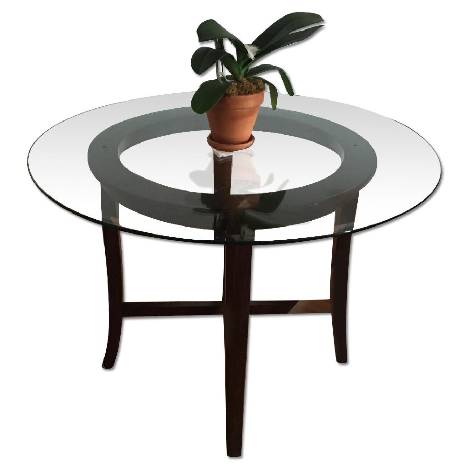 Crate & Barrel Halo Ebony Round Dining Table w/ Glass Top - image-0