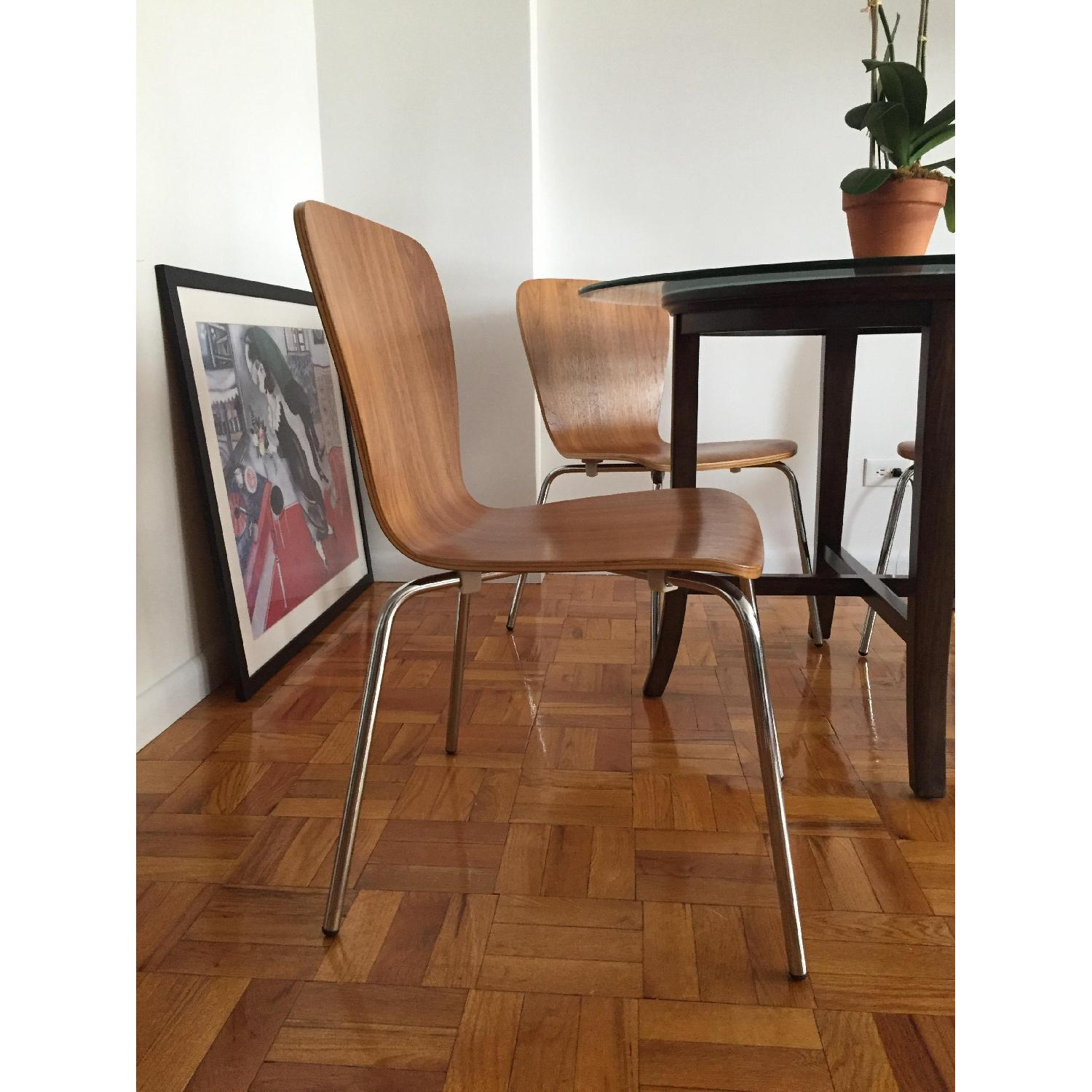 Crate & Barrel Modern Dining Chairs in Walnut Wood - image-1