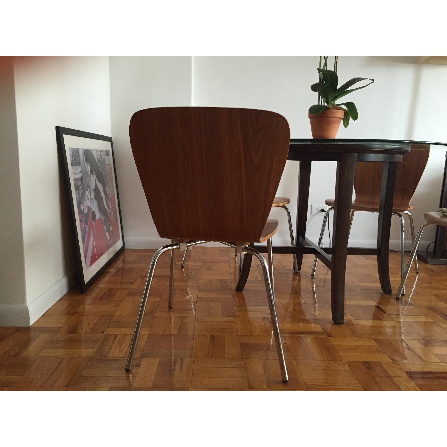 Crate & Barrel Modern Dining Chairs in Walnut Wood - image-2