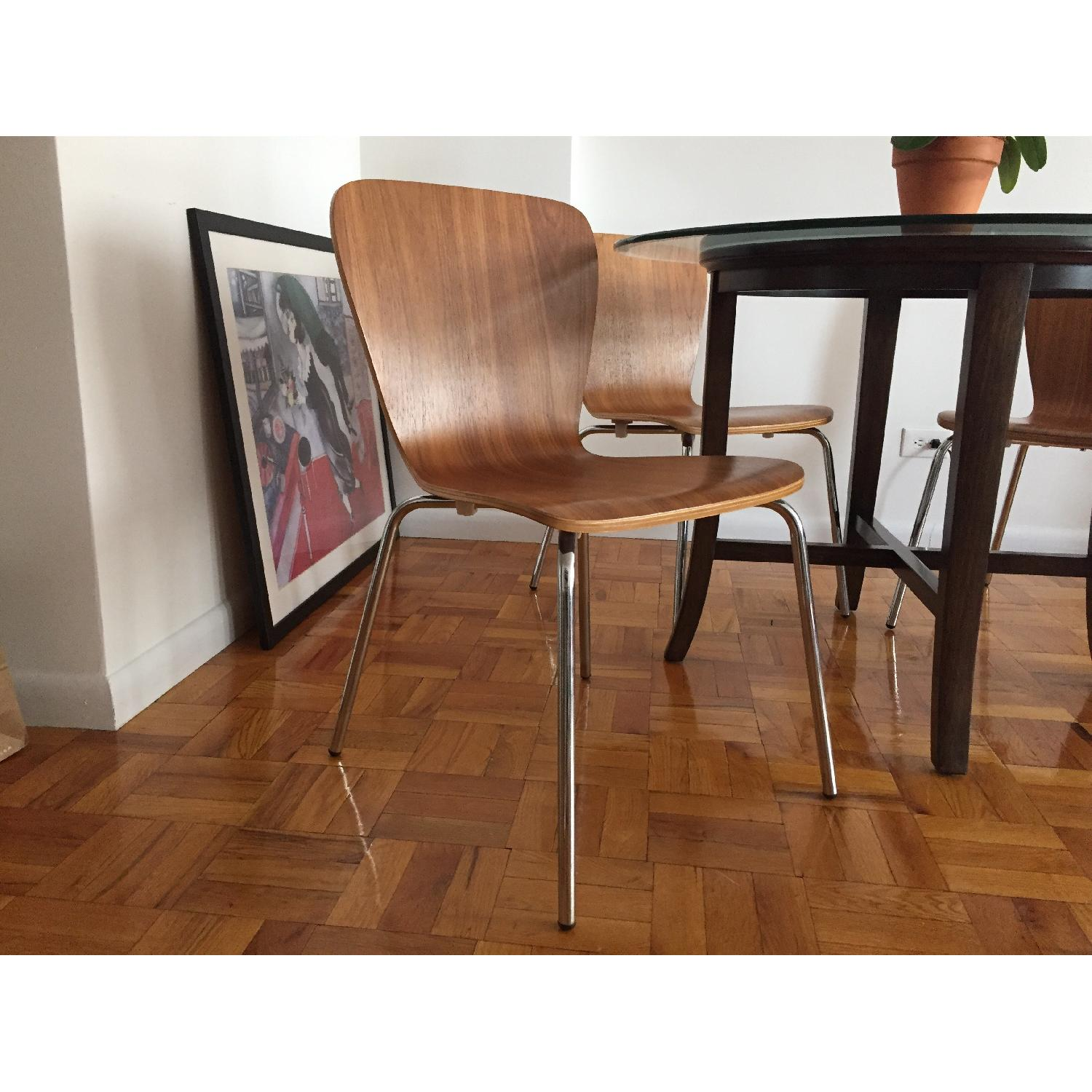 Crate & Barrel Modern Dining Chairs in Walnut Wood - image-3