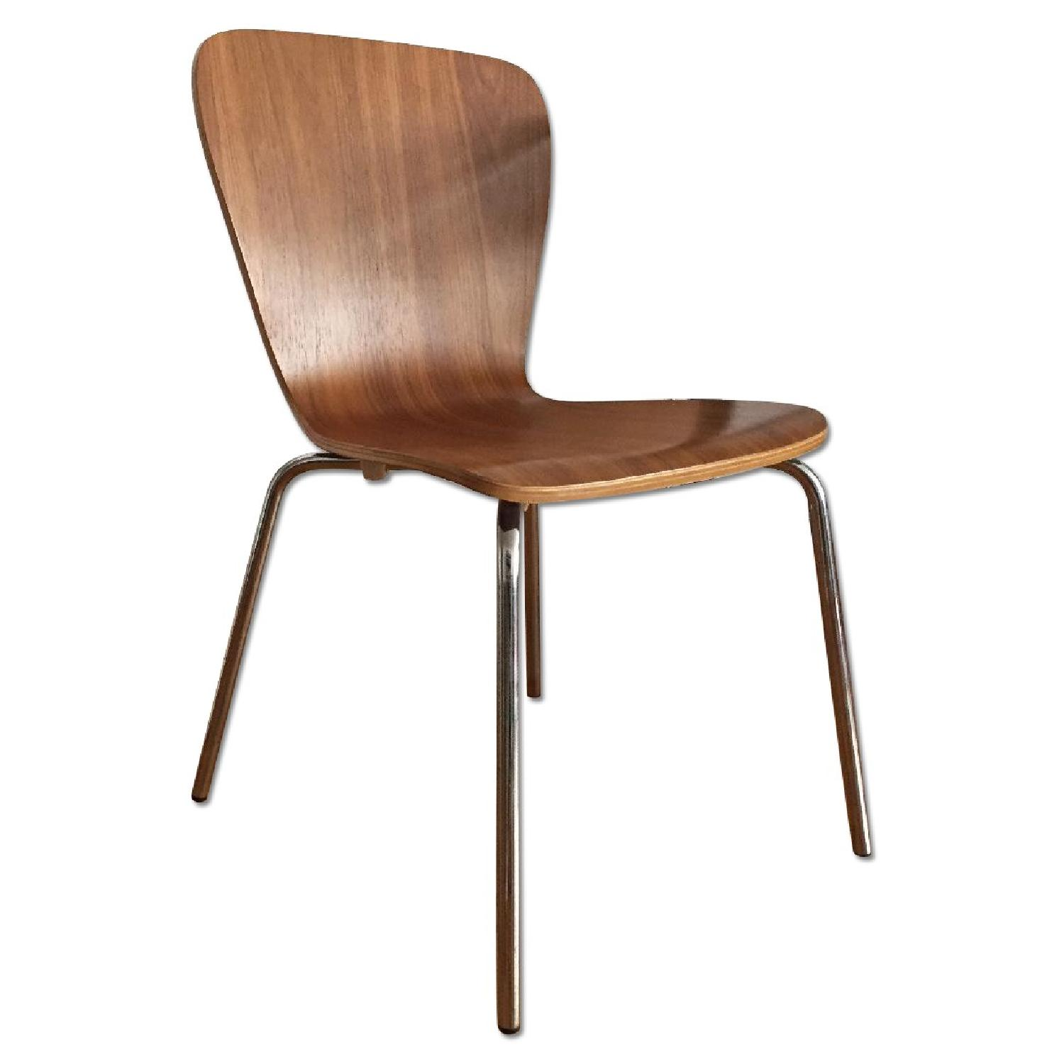 Crate & Barrel Modern Dining Chairs in Walnut Wood - image-0