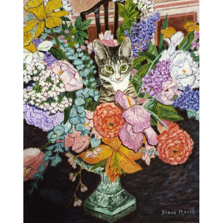 Diane Monett Oil-On-Canvas Original Paintings of Two Kittens - image-1