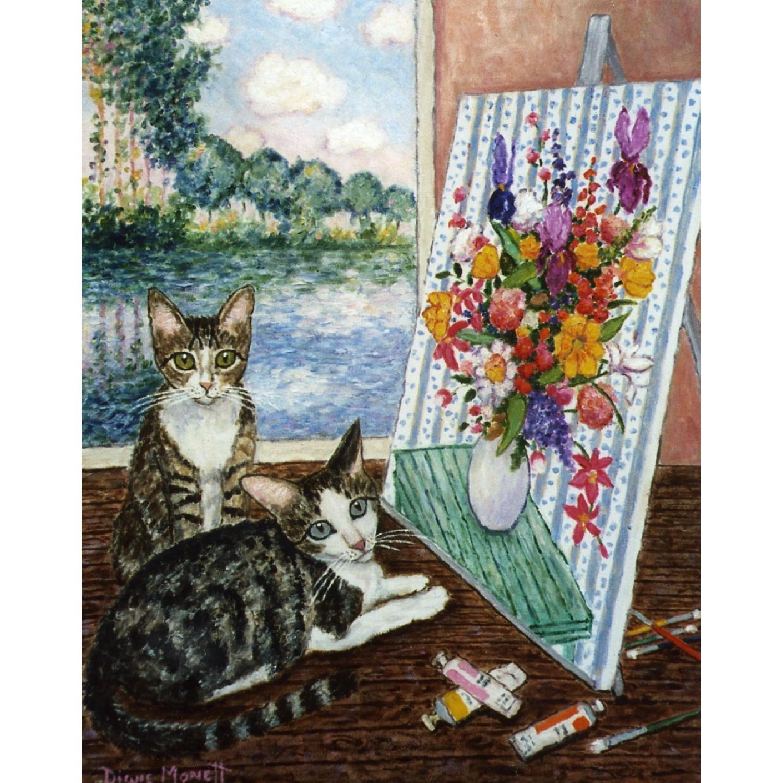Diane Monett Oil-On-Canvas Original Paintings of Two Kittens - image-3