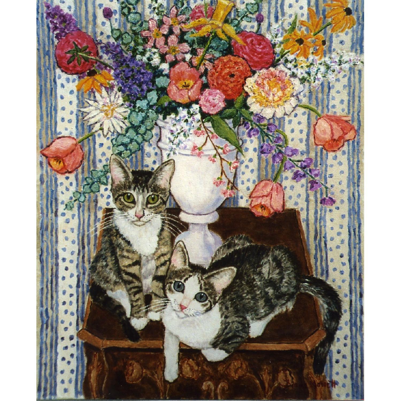 Diane Monett Oil-On-Canvas Original Paintings of Two Kittens - image-0