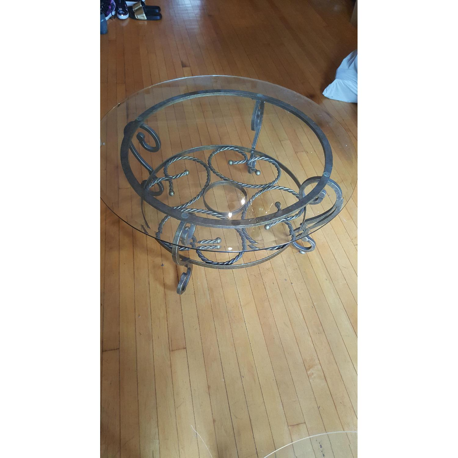 Jennifer Convertibles Antique Gold Round Coffee Table + 1 Side Table - image-1