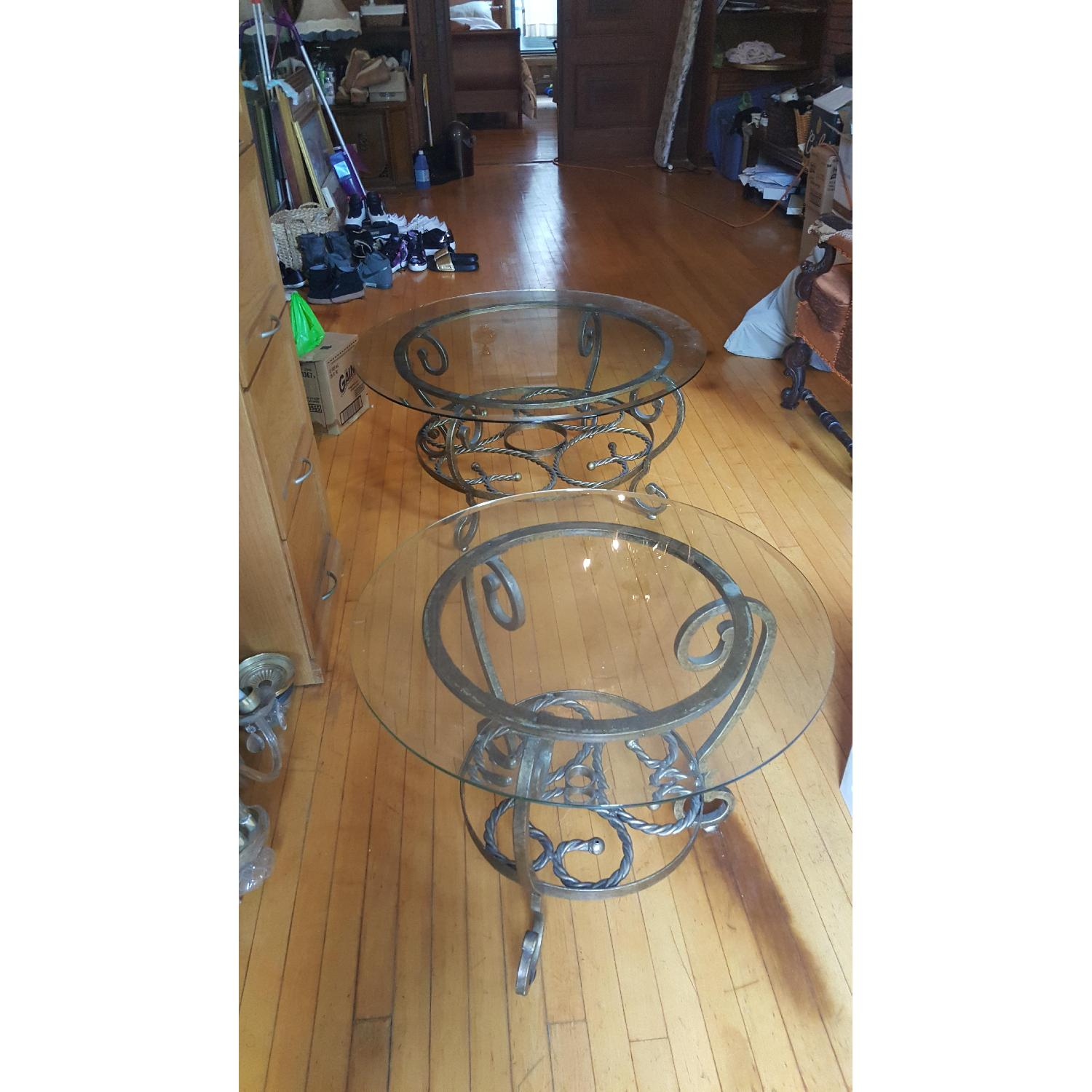 Jennifer Convertibles Antique Gold Round Coffee Table + 1 Side Table - image-2