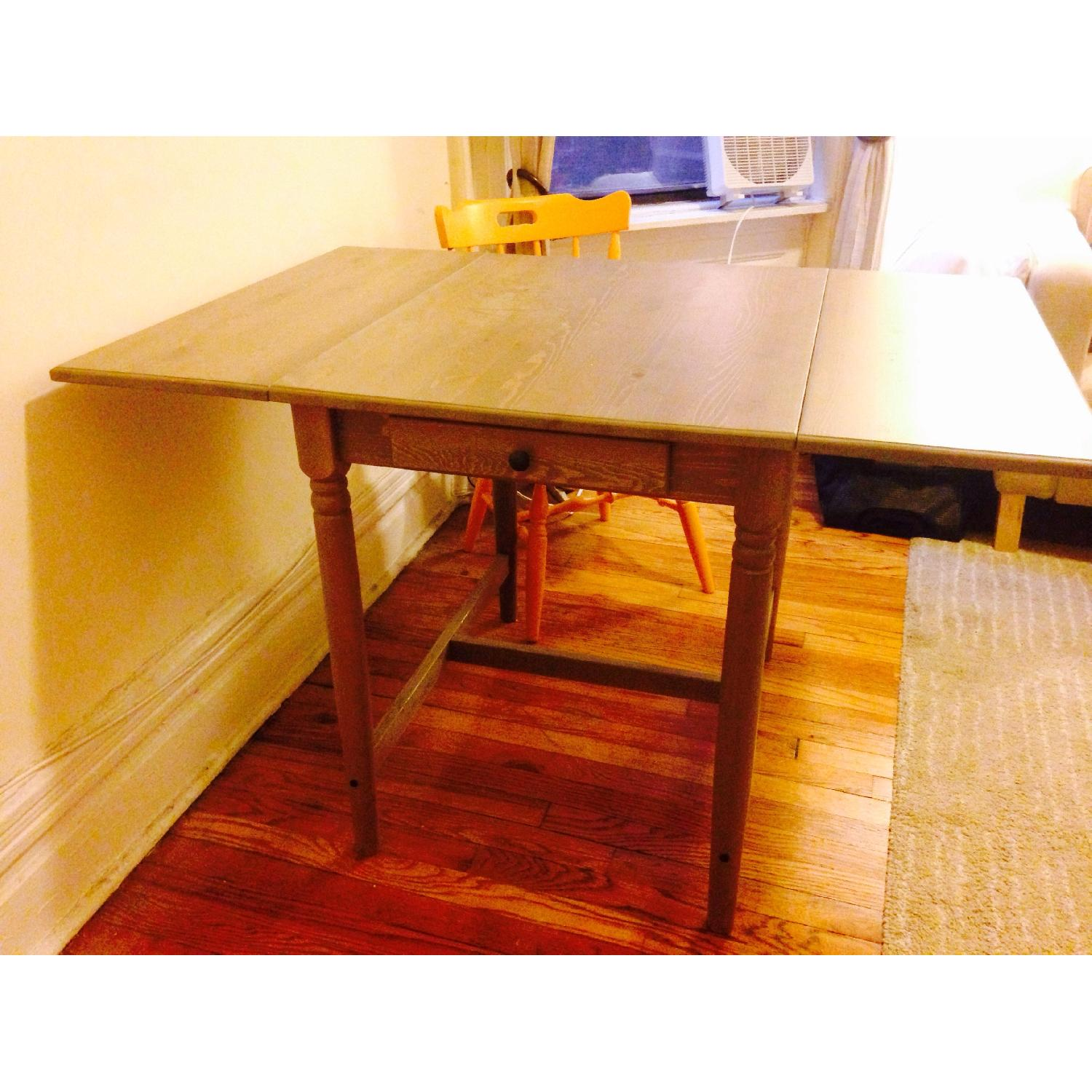 Ikea Drop-Leaf Dining Table w/ Antique 2 Chairs - image-2