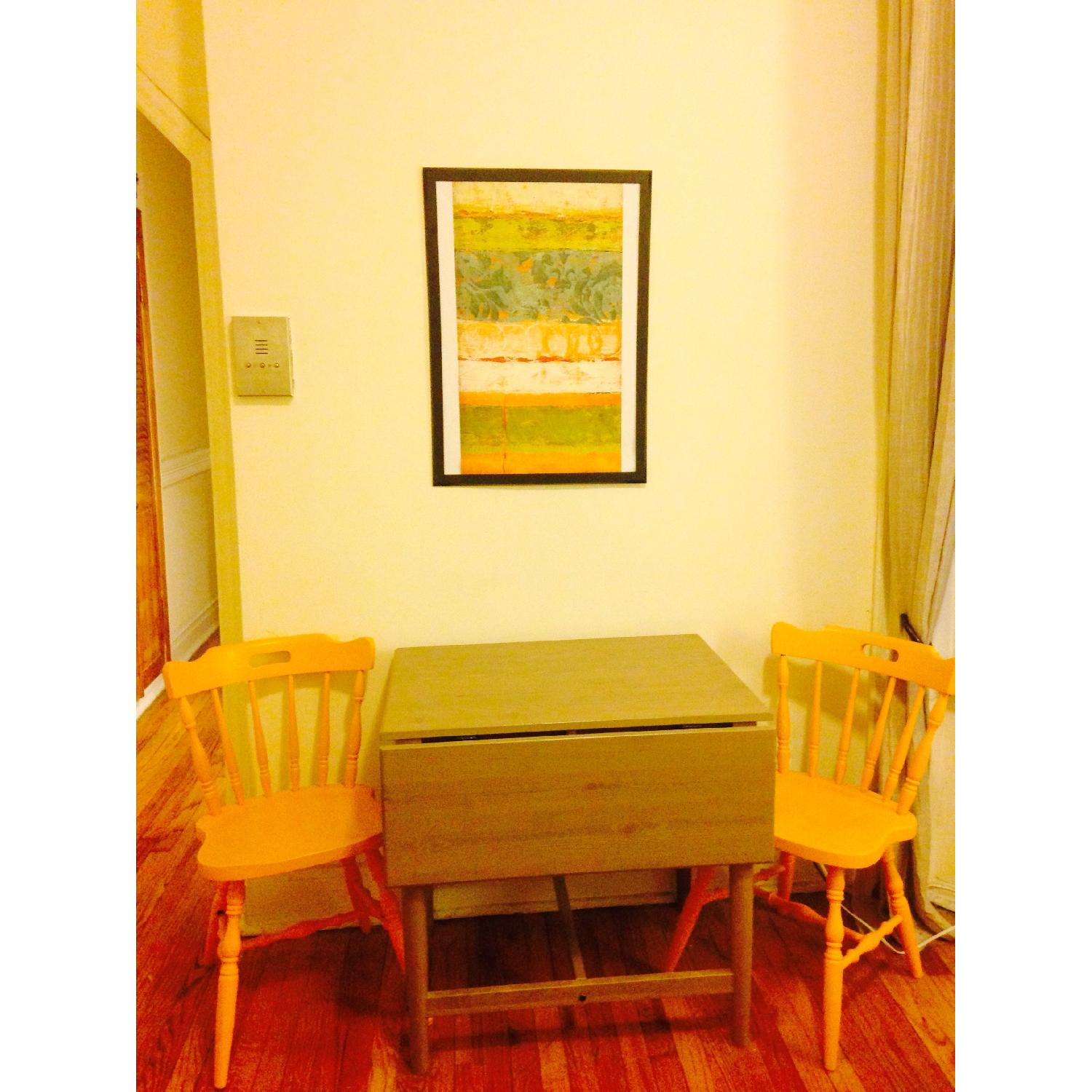 Ikea Drop-Leaf Dining Table w/ Antique 2 Chairs - image-3