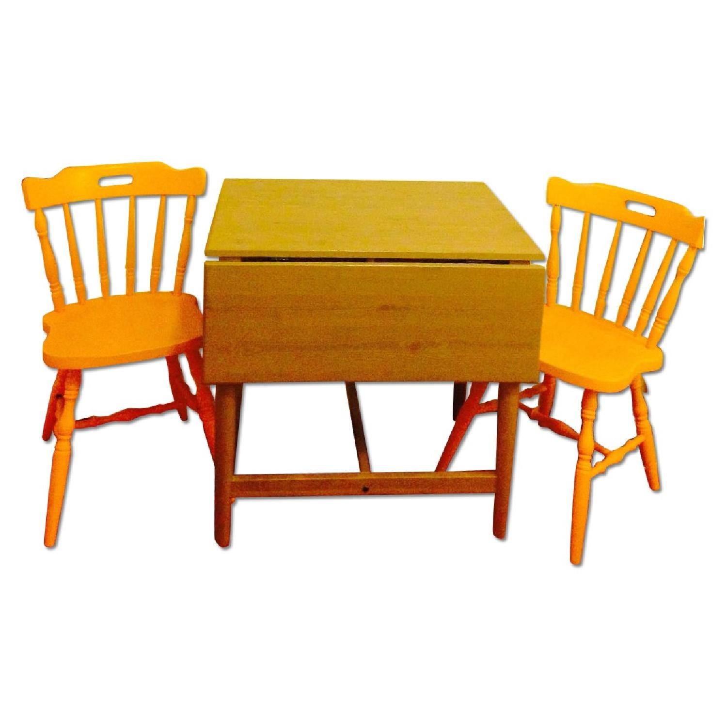 Ikea Drop-Leaf Dining Table w/ Antique 2 Chairs - image-0