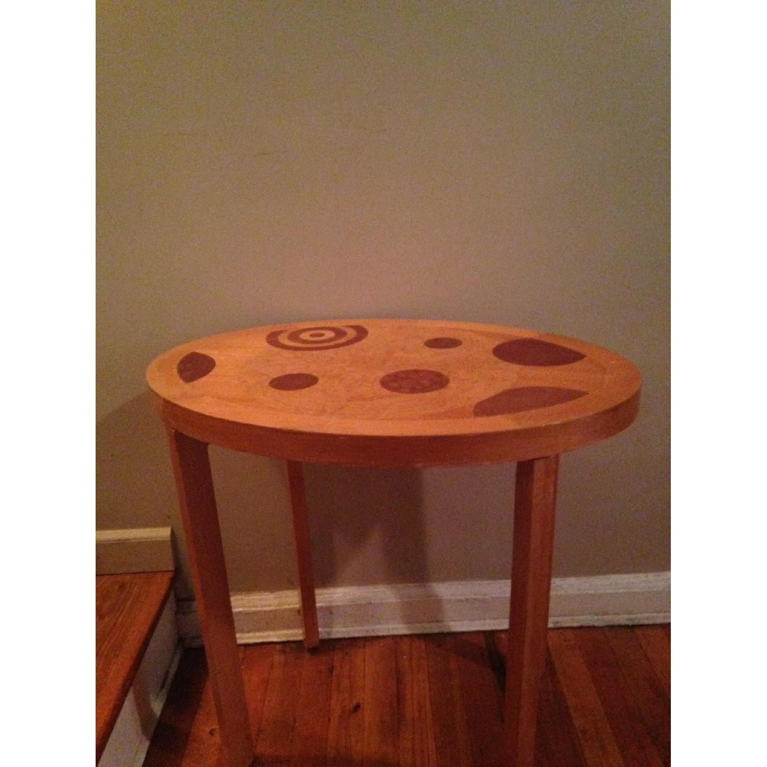 Blond Wood Inlaid Side Table - image-1