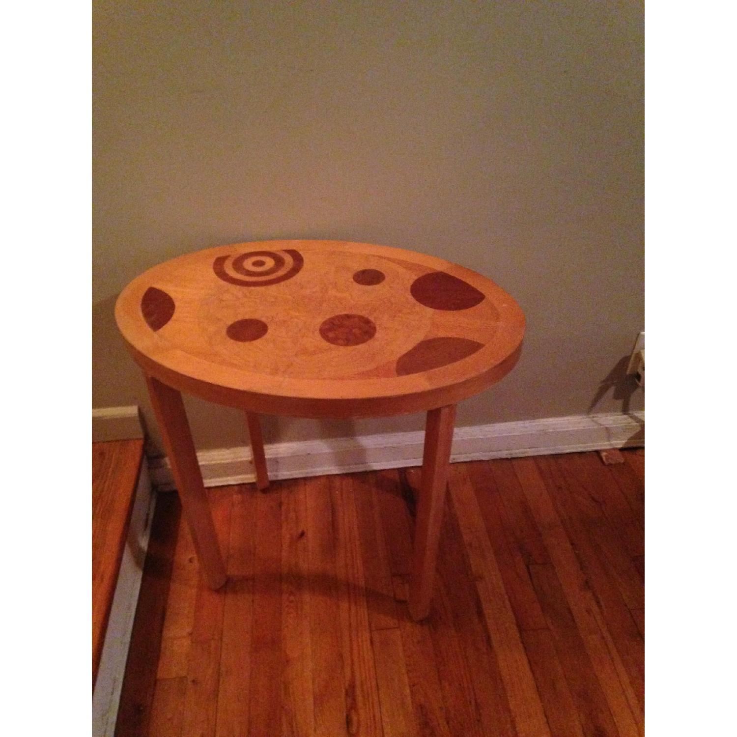 Blond Wood Inlaid Side Table - image-2