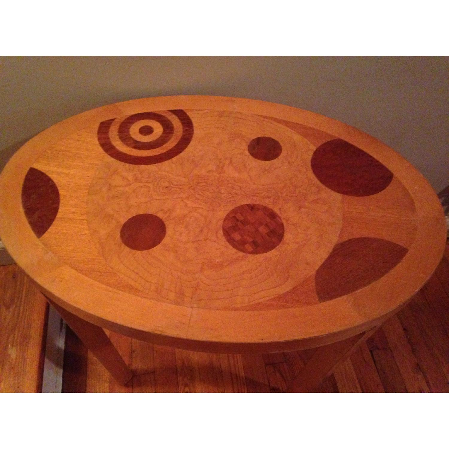 Blond Wood Inlaid Side Table - image-3