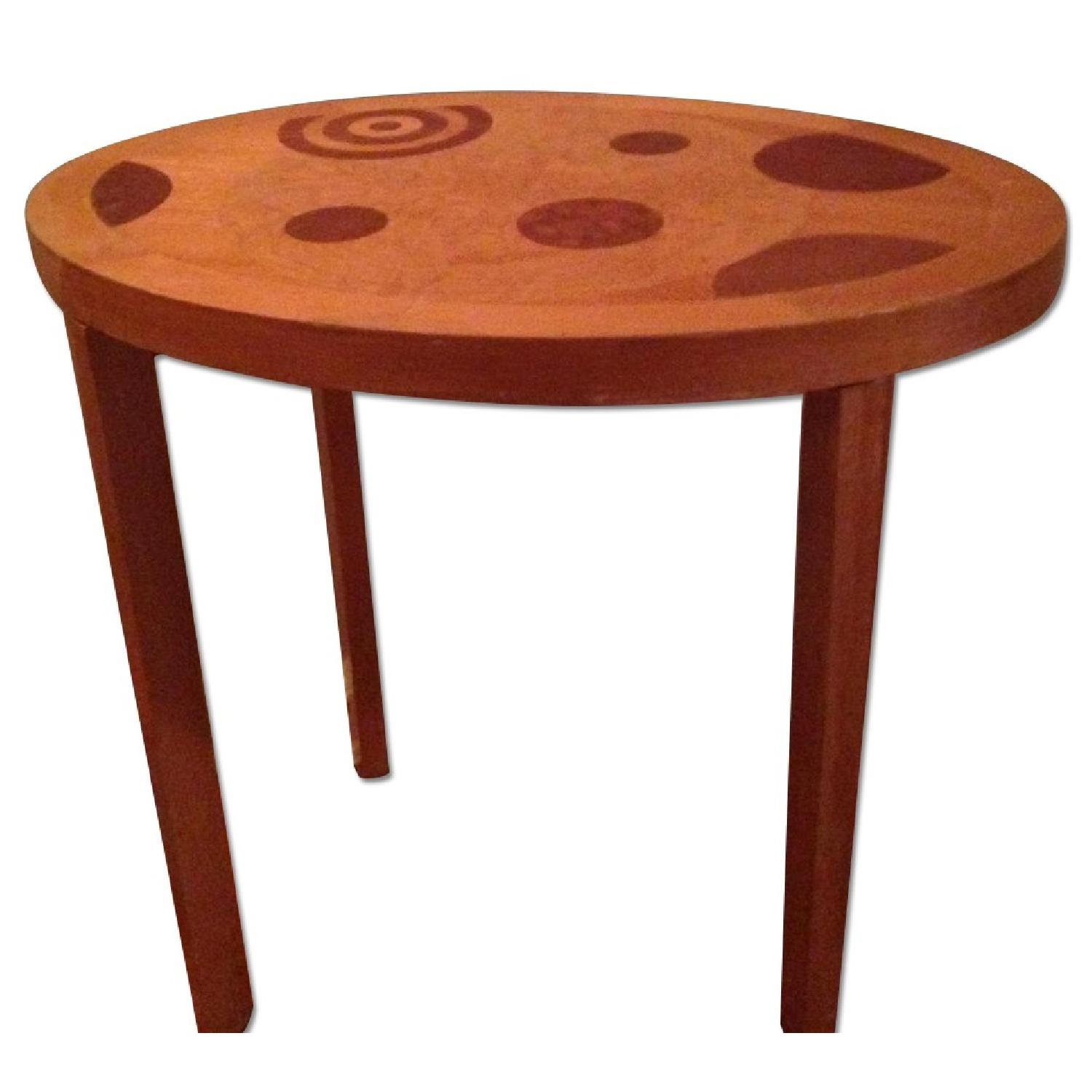 Blond Wood Inlaid Side Table - image-0