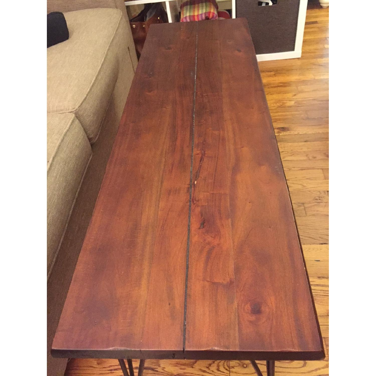 Natural Wood Table/Bench w/ Hairpin Legs - image-1