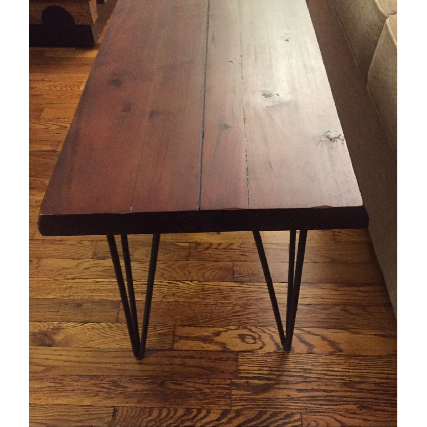 Natural Wood Table/Bench w/ Hairpin Legs - image-2