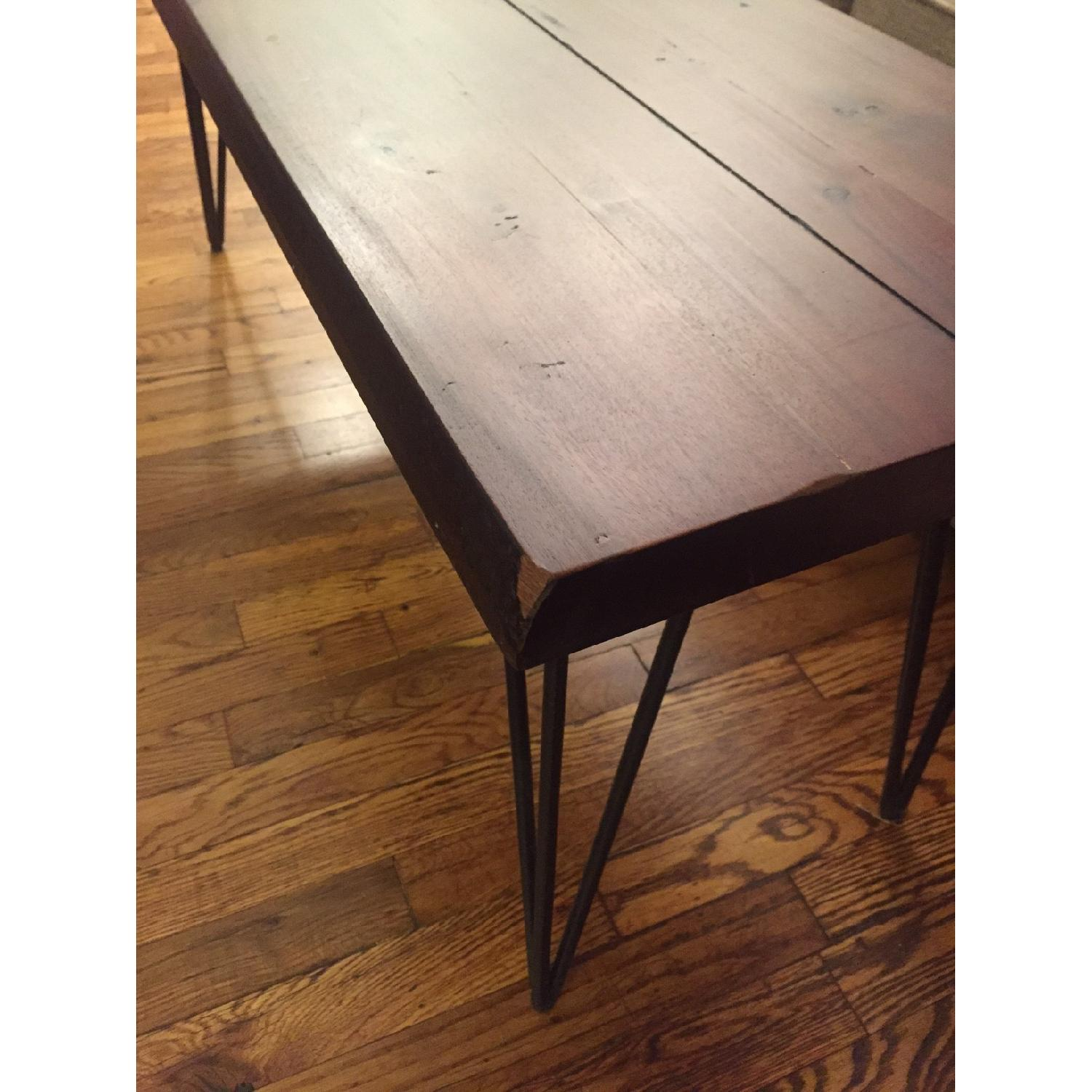 Natural Wood Table/Bench w/ Hairpin Legs - image-6
