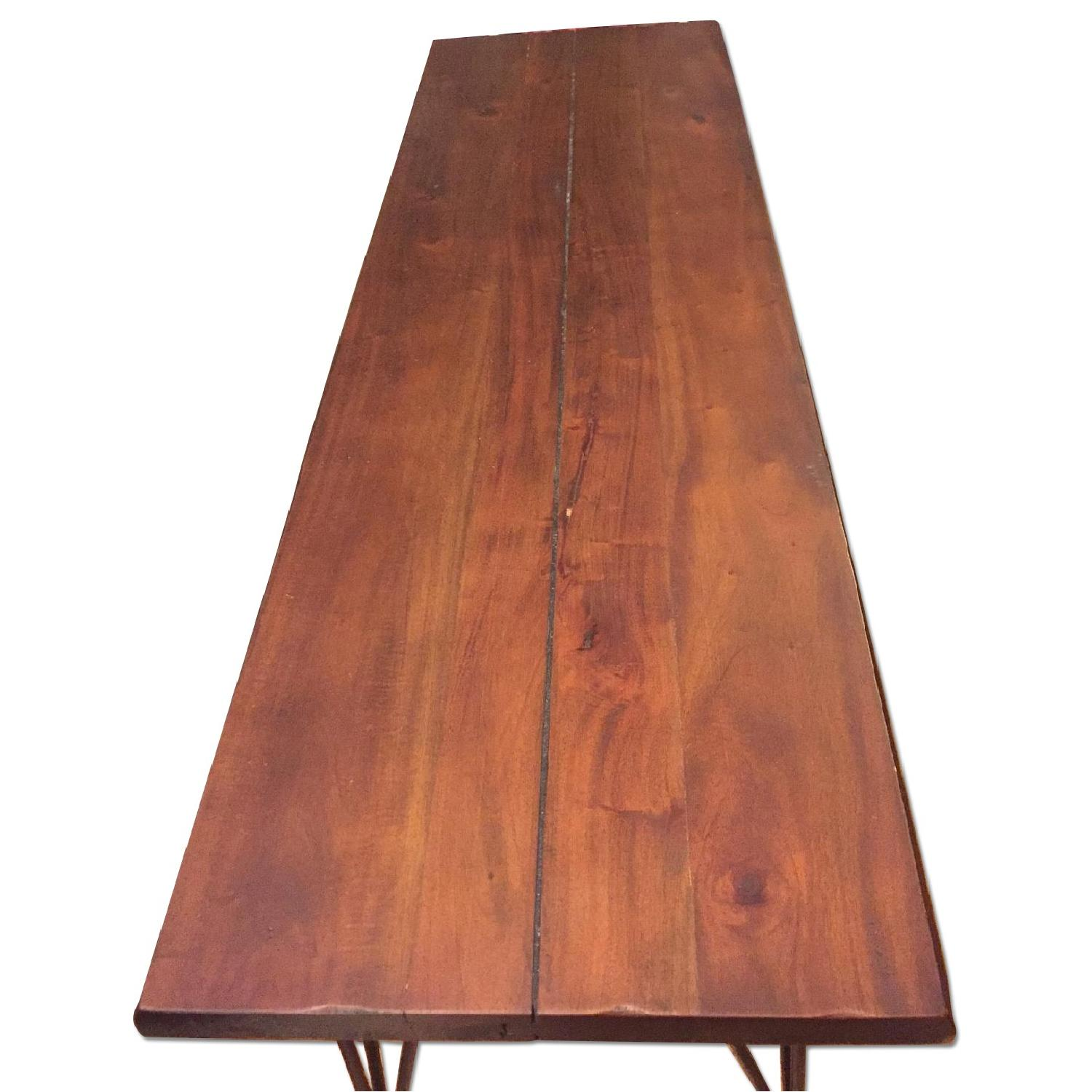 Natural Wood Table/Bench w/ Hairpin Legs - image-0
