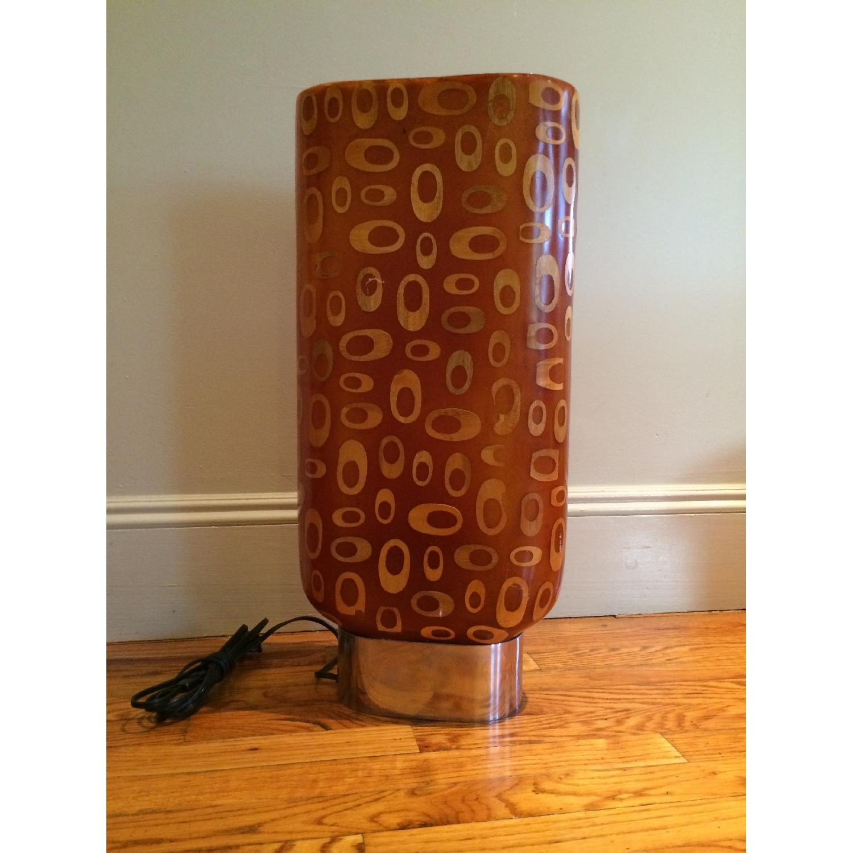 Mid-Century Fiberglass & Wood Inlay Floor Lamp - image-1